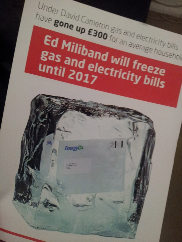 Leaflet about Ed Miliband committing to freezing gas and electricity bills