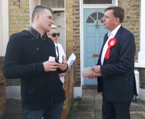 Robin talking to voters in Stratford
