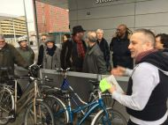 Cyclists gather at Stratford Intl station